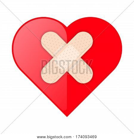 The red heart shape with medical patch cross. Health care flat concept illustration. Vector element for healthcare emergency first-aid protection medicine infographic web design social networks.