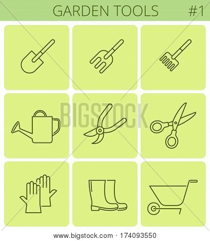 Garden and plant tools outline icons: shovel pot rake wheelbarrow. Vector thin line gardening and agriculture symbol sign set. Isolated infographic elements for web presentations social network.
