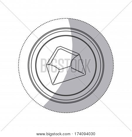 sticker monochrome silhouette circular button with envelopes opened vector illustration