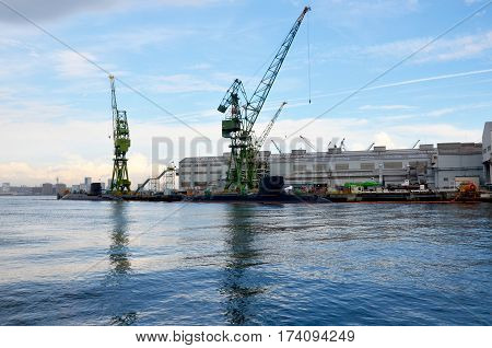 Docks Of Submarine And Shipbuilding Or Shipyard In The Sea At Kobe Bay