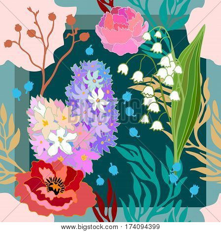 Abstract vector pattern with hand drawn floral elements. 1950s-1960s motifs. Retro textile design collection.