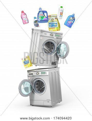 Washing concept. Detergents bottles and washing powder near washing and dryer machine on white background. 3d illustration