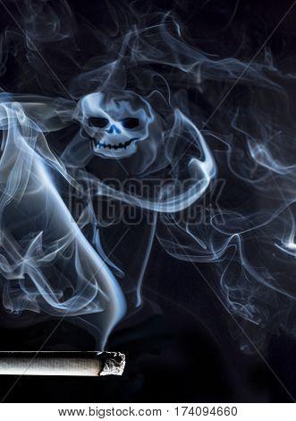 Cigarette smoke in the skull, smoke ,tobacco,cigarette,hookah, calabash,skull,