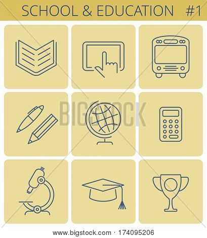 School and education outline icons: pen pencil globe computer bus mathematical calculator graduate hat. Vector thin line study symbol set. Isolated infographic elements for web social network.