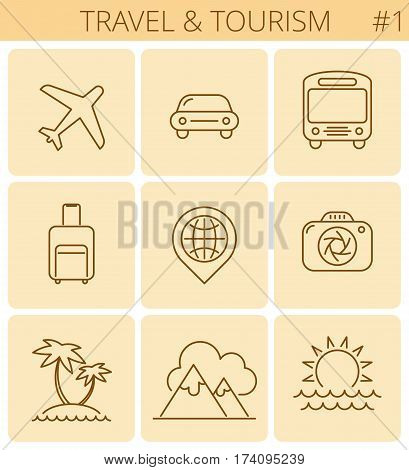 Travel vacation tourism outline icons: airplane beach camera luggage sea mountains. Vector thin line symbol and sign set. Isolated infographic elements for web presentations social networks.