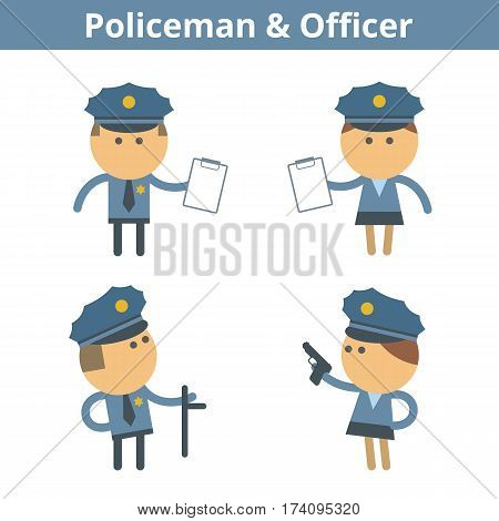Occupations cartoon character set: policeman cop and officer. Vector flat security law guard professions userpic and icons. Collection for profiles web design social networks and infographics.