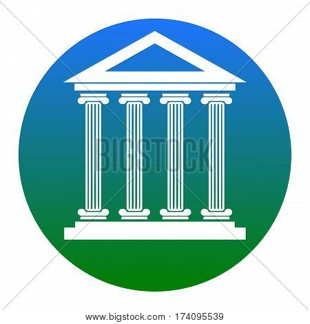 Historical building illustration. Vector. White icon in bluish circle on white background. Isolated.