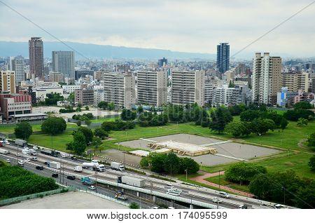 Aerial view cityscape of Osaka city at around Osaka castle on July 10 2015 in Osaka Japan