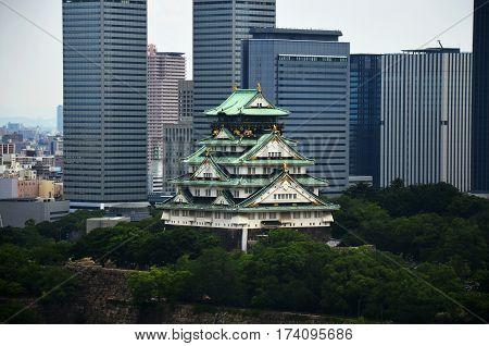 Aerial View Cityscape Of Osaka City At Around Osaka Castle