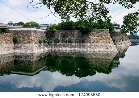 Fortification And Ditch Water Around Osaka Palace For Protection Osaka Castle