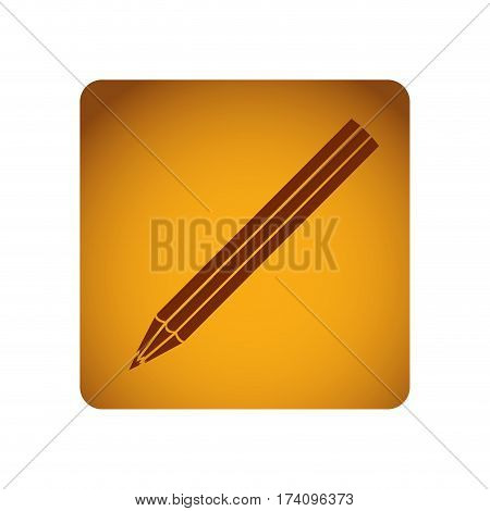 ochre square frame with striped pencil vector illustration