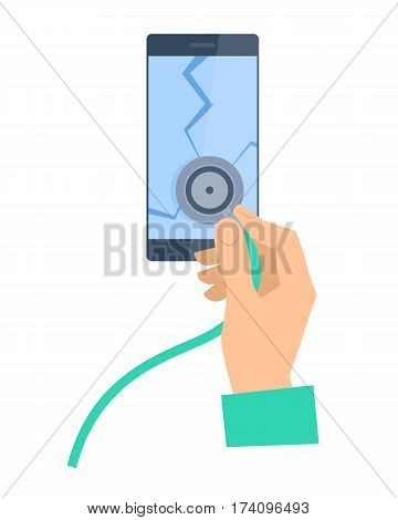 The hand with stethoscope examing broken smartphone. Phone repair flat concept illustration. Human hand holds a phonendoscope and checks cellphone screen. Vector design element for web infographic.