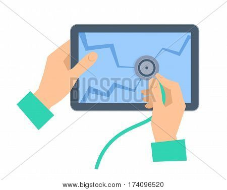 The hand with stethoscope examing broken tablet pc. Recovery repair flat concept illustration. Human hand holds a phonendoscope and checks mobile computer screen. Vector element for web infographic.