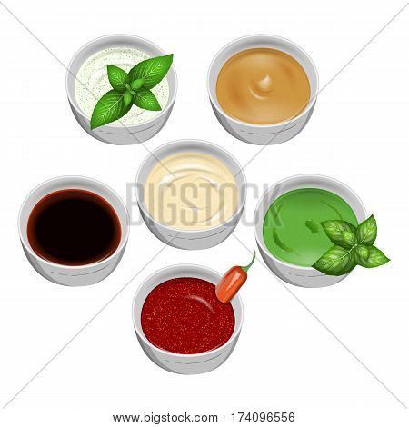 Set of tasty fresh sauce fish and meat on a white background. For use as logos on cards in printing posters invitations web design and other purposes.