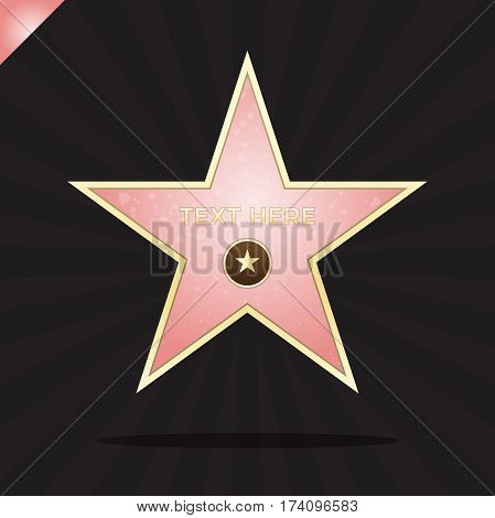 Walk Of Fame Star Illustration. Famous Reward Symbol. Achievement Of Actor Celebrity. Hollywood Vect
