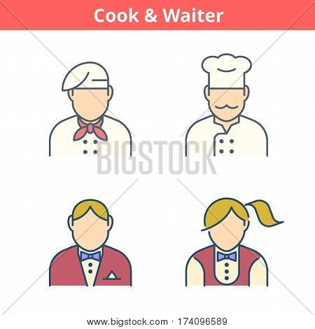 Occupations colorful avatar set: cook chef waiter baker. Flat line professions userpic collection. Vector color thin outline icons for profiles web design social networks and infographics.