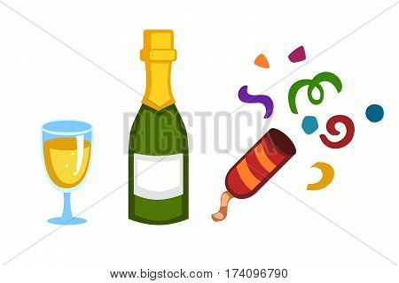 Holiday gold champagne new year party beverage romantic drink bottle. Refreshing cocktail with ice. Colourful vector illustration transparent mixed water and clapper of confetti.