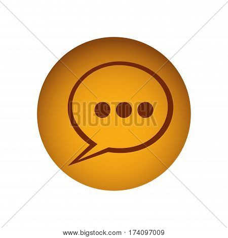 ochre circular frame with dialog with suspending points vector illustration