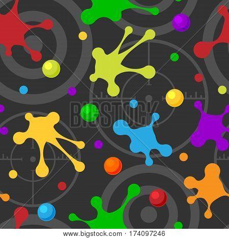 Splash seamless pattern dark colorful hand drawn spray texture blot art spots and grunge stain ink abstract background design vector illustration. Splatter drop brush spray wallpaper.