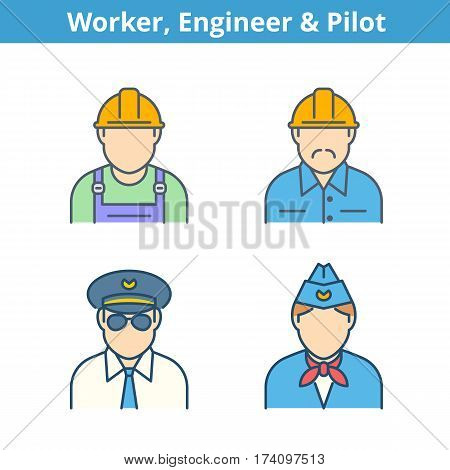 Occupations colorful avatar set: pilot stewardess engineer worker. Flat line professions userpic collection. Vector color thin outline icons for profiles web social networks and infographics.