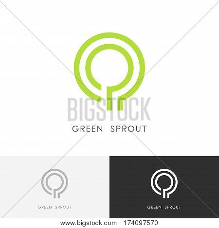 Green sprout logo - plant or tree symbol. Ecology, environment and nature vector icon.