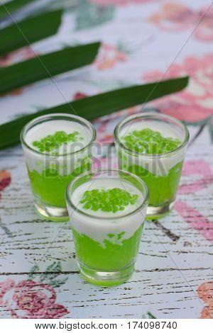Pandan tapioca pearls with coconut milk as dessert