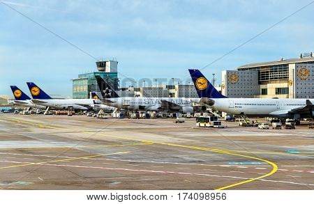Frankfurt, Germany - Ferbruary 4, 2017: Lufthansa aircrafts at Frankfurt International airport. It is the busiest airport in Germany in terms of passenger traffic