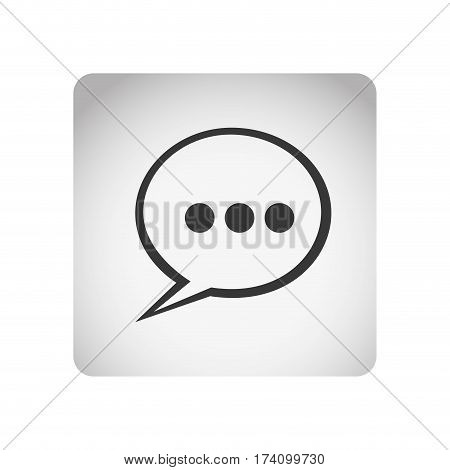 monochrome square frame with silhouette dialog with suspending points vector illustration