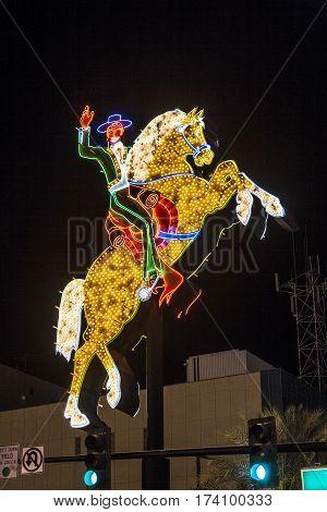 Neon Rider At Fremont Street In Las Vegas