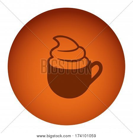 orange color circular frame with silhouette cup of cappuccino with cream vector illustration