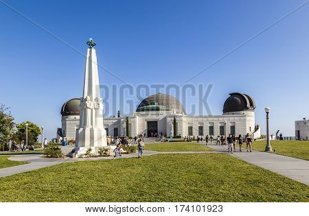 People Visit Griffith Park Observatory In The Los Feliz/hollywood Area