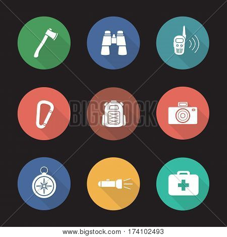 Camping equipment flat design long shadow icons set. Tourist gear. Axe, binoculars, walkie-talkie, carabiner, backpack, photo camera, compass, flashlight, first aid kit. Vector silhouette illustration