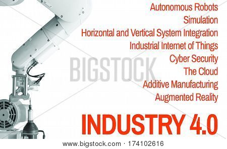 Industry 4.0 Robot arm and industrial  White  background Orange Text Cyber The future revolution cyber physical systems of productivity and competitiveness