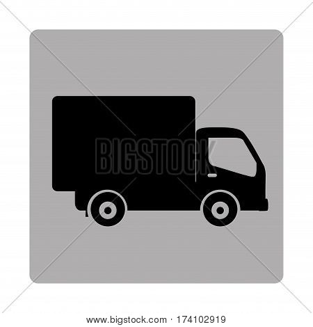 gray square frame with silhouette transport truck vector illustration
