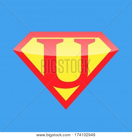 Superhero logo with the letter U. Vector illustration