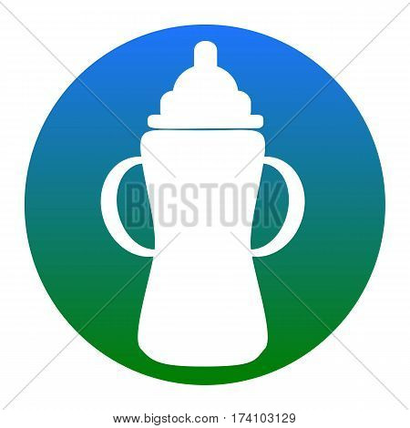 Baby bottle sign. Vector. White icon in bluish circle on white background. Isolated.