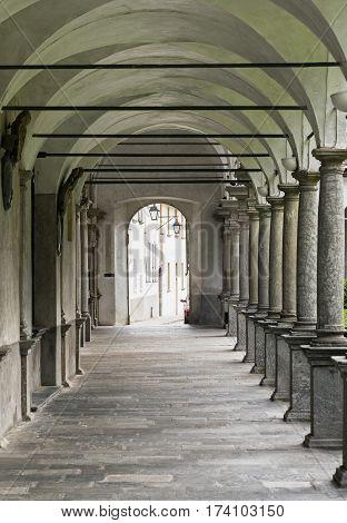 Chiavenna (Sondrio Lombardy Italy): cloister of the historic collegiata of San Lorenzo