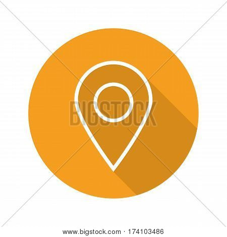 Pinpoint flat linear long shadow icon. Geo location mark. Vector line symbol