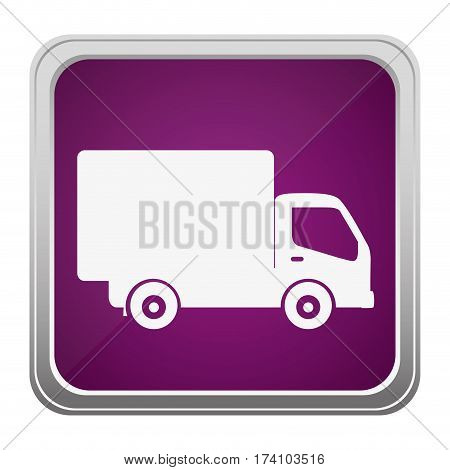 violet square button relief with silhouette transport truck vector illustration