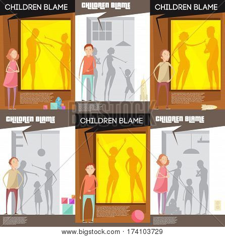Adults abuse children posters set with unhappy teenage child characters watching quarreling parents silhouettes with title vector illustration