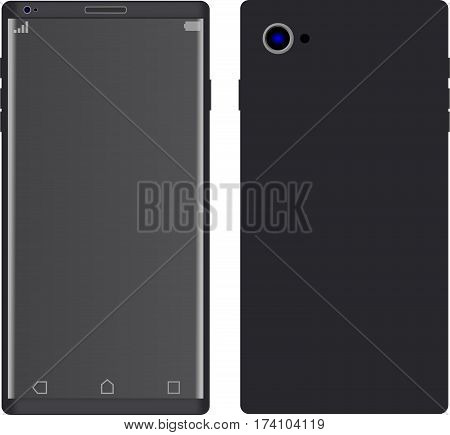 Modern Smartphone with thin frames in black color with blank screen, mockup - Simple way to put a picture or screenshot
