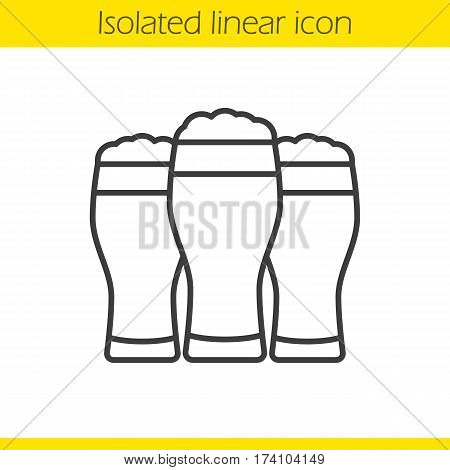 Three beer glasses linear icon. Thin line illustration. Foamy beer glasses. Cheers contour symbol. Vector isolated outline drawing