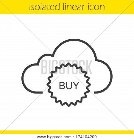 Buy cloud storage space linear icon. Thin line illustration. Web storage purchase. Cloud computing contour symbol. Vector isolated outline drawing