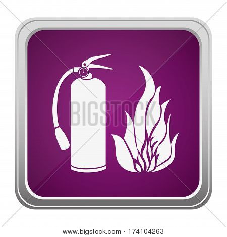 violet square button relief with silhouette fire flame and extinguisher icon vector illustration