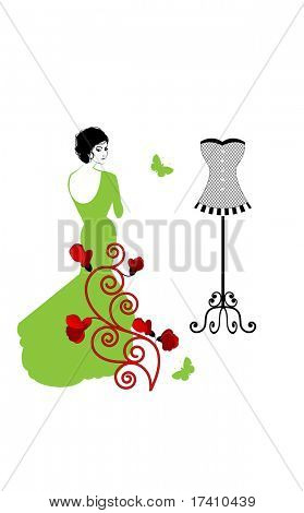 Glamour woman in gown bodyform with corset behind fashion concept