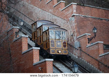 Castle Hill Funicular at Budapest Hungary transporting tourist to Castle Hill Budapest Hungary