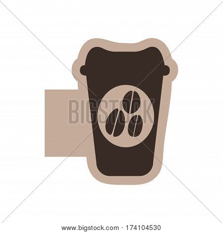 color emblem with silhouette glass disposable for hot drinks with lid vector illustration