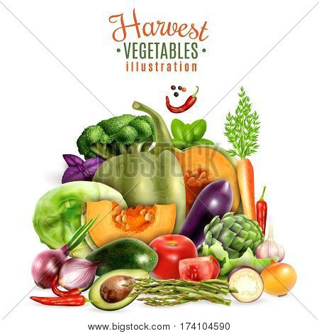 Harvest of autumn vegetables design concept with colorful icons of greengrocery courgette pumpkin tomato carrot garlic cabbage  realistic vector Illustration