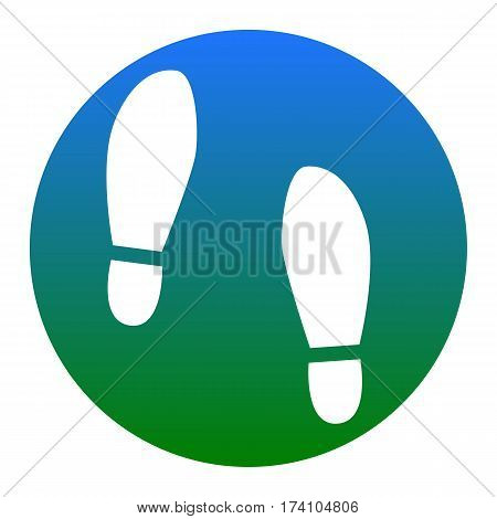Imprint soles shoes sign. Vector. White icon in bluish circle on white background. Isolated.