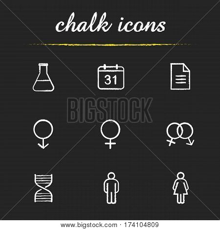 Science research chalk icons set. WC door signs. Lab flask, calendar, test paper, interlocked male and female signs, man and woman, dna chain model. Isolated vector chalkboard illustrations